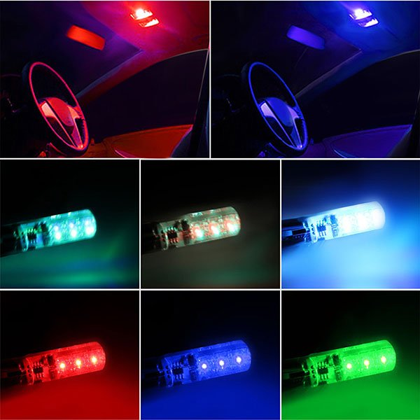 T10 Remote Control W5w 501 Rgb Color Changing Led Bulbs