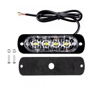 4 LED Grill Mount Strobe Flashing Light Emergency Beacon available in RED WHITE and AMBER
