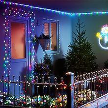Multicoloured String Lights for Garden Patio Set on Patio