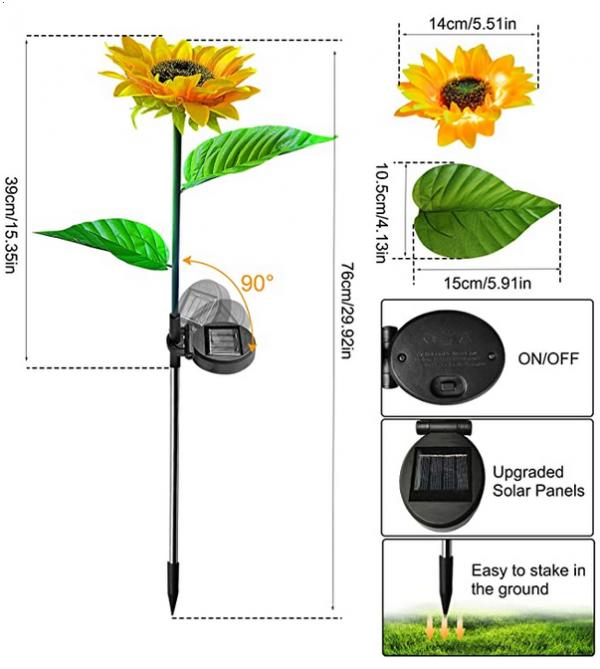 Solar LED Sunflower for Garden and Patios